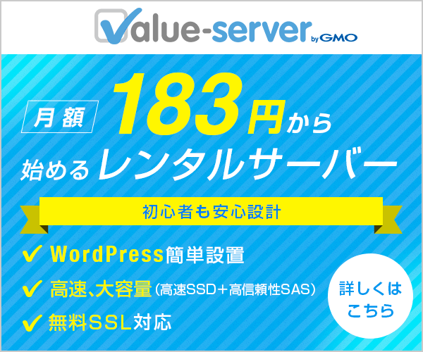 【バリューサーバー】初心者も安心のレンタルサーバー
