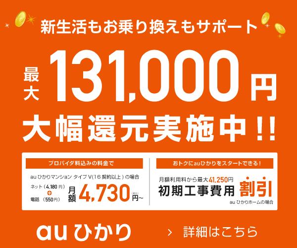 最大110,000円分の高額還元!更に初期工事費無料!【auひかり】